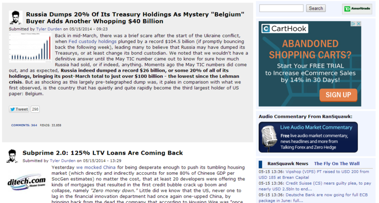 Zero Hedge blog screenshot